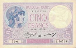 J26 - Billet 5 Francs - Type Violet - 1933 - 1871-1952 Anciens Francs Circulés Au XXème