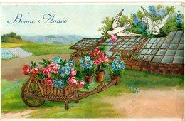 CPA  -  Gaufrée  , Bonne Année  -   Brouette De Fleurs Avec Colombes  -  écrite - - New Year