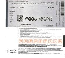 Admission Ticket: Latvia, 1 Ticket For Seniors For Balet Festival, Jurmala, 03.08.2019 - Tickets D'entrée