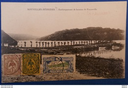 109 NOUVELLE HEBRIDES CARTE 1908 AFFRANCHISSEMENT POSTE LOCALE TRES RARE . EMBARQUEMENT DE BANANE - Franse Legende