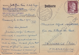 ALLEMAGNE 1944 LETTRE AVEC TIMBRE SÉRIE ADOLF HITLER / POSTKARTE VERS SASSENAGE - Marcophilie (Lettres)