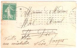 PARIS XX Rue Pyrénées Mignonette Carte De Visite 5c Semeuse Vert Yv 137 Ob Meca CHAMBON 6 1 1914 Dest St Dié Réexp Nice - Postmark Collection (Covers)