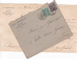 FRANCE LETTRE DE 1889 TAMPON A DATE GRENOBLE ET TIMBRES PAIX ET COMMERCE TYPE SAGE DE 5 ET 10 CENTIMES - Marcophilie (Lettres)
