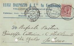 Villanova Di Bagnocavallo.1913. Annullo Guller VILLANOVA DI BAGNOCAVALLO (RAVENNA), Su Cartolina Postale PUBBLICITARIA. - Storia Postale