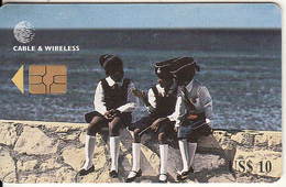 TURKS & CAICOS ISL. - 3 Girls On A Wall, First Chip Issue US$10, Chip GEM3.3, Used - Turks & Caicos (I. Turques Et Caïques)