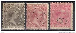 Espagne N° 205, 207, 210 Perforés T3 Ou T6 (timbres Télégraphe ???) - Nuevos