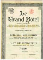 Titre Ancien - Le Grand Hôtel - Verviers - Titre De 1925 - - Tourisme