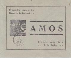 Lettre Recommandée à Entête (Perception De Metz1) Obl. Metz 1 Le 23/12/29 + Publicité Au Dos Pour La Brasserie Amos - Cervezas