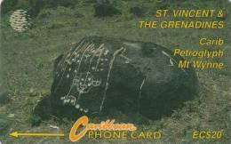 ST.VINCENT & GRENADINES(GPT) - Carib Petroglyph, CN : 9CSVB, Tirage 6000, Used - San Vicente Y Las Granadinas