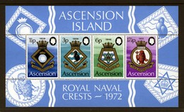 ASCENSION - 1972 ROYAL NAVY CRESTS (4th SERIES) MS VERY FINE MNH ** - Ascension