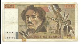 France 100 Francs 1980 Fine+ Pin Holes - 100 F 1978-1995 ''Delacroix''