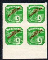 SLOVAKIA, 1939 GREEN 9h O/P  BLOCK 4 - Slovakia