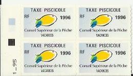 Taxes Pisicoles VACANCES - Année 1996 - Bloc De 4 Timbres - Pêche