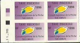 Taxes Pisicoles COMPLETE - Année 1996 - Bloc De 4 Timbres - Pêche