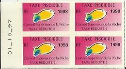 Taxes Pisicoles REDUITE 2 - Année 1998 - Bloc De 4 Timbres - Pêche