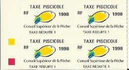 Taxes Pisicoles REDUITE 1 - Année 1998 - Bloc De 4 Timbres - Pêche