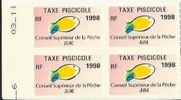 Taxes Pisicoles JEUNE - Année 1998 - Bloc De 4 Timbres - Pêche