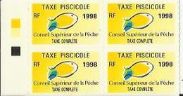 Taxes Pisicoles COMPLETE - Année 1998 - Bloc De 4 Timbres - Pêche