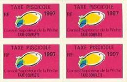 Taxes Pisicoles COMPLETE - Année 1997 - Bloc De 4 Timbres - Pêche