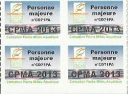 Taxe Piscicole ( CPMA ) Personne MAJEURE 2013 - Bloc De 4 Timbres Vierges - Pêche
