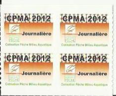 Taxe Piscicole ( CPMA ) Journalière 2012 - Bloc De 4 Timbres Vierges - Fishing