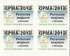 Taxe Piscicole ( CPMA ) Personne MAJEURE 2012 - Bloc De 4 Timbres Vierges - Pêche