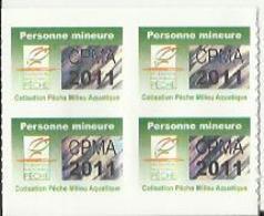 Taxe Piscicole ( CPMA ) Personne Mineure 2011 - Bloc De 4 Timbres Vierges - Fishing