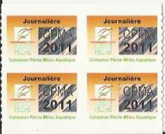 Taxe Piscicole ( CPMA ) JOURNALIERE 2011 - Bloc De 4 Timbres Vierges - Fishing