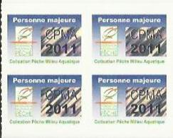 Taxe Piscicole ( CPMA ) Personne MAJEURE 2011 - Bloc De 4 Timbres Vierges - Pêche
