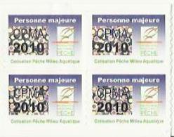 Taxe Piscicole ( CPMA ) Personne MAJEURE 2010 - Bloc De 4 Timbres Vierges - Pêche
