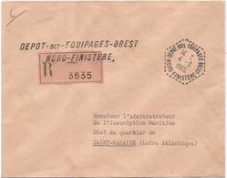 LETTRE FRANCHISE REC C. HEX PERLE DEPOT DES EQUIPAGES BREST 4.3.1965 NORD FINISTERE + GRIFFE - Marcophilie (Lettres)