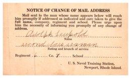 Rhode Island  Newport US Naval Training Station , Change Of Address - Newport