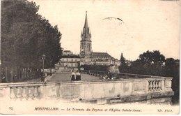FR34 MONTPELLIER - Nd 54 - La Terrasse Du Peyrou Et église Sainte Anne - Animée - Belle - Montpellier