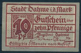 NOTGELD / DAHME  -   1920 ,  10 PFENNIGE  -  1 Notgelschein  -  Gebraucht - Lokale Ausgaben