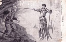 Illustrateur - VA T EN - Jeanne D Arc Repossant Un Soldat Allemand- Militaria - Guerre 1914 - 1900-1949
