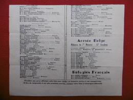 TRACT PROPAGANDE ARMÉE BELGE NOMS RÉFUGIÉS BELGE RÉFUGIÉS FRANCAIS  1940  A VOIR Etat - Documents Historiques