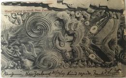 Nuova Zelanda 01 - Maori Carving On Wood 1907 - New Zeland - Nuova Zelanda