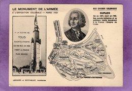 75 12 PARIS 12eme Le Monument De L'Armée à L'Exposition Coloniale PARIS 1931 Nos Grands Coloniaux : DUPLEIX - Expositions