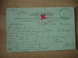 Cours Rhone Hopital Hospice  Cachet Franchise Postale Guerre 39.45 - Guerra De 1914-18
