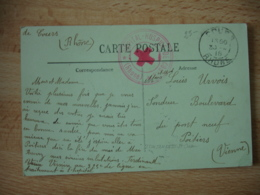 Cours Rhone Hopital Hospice  Cachet Franchise Postale Guerre 39.45 - Marcophilie (Lettres)