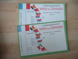 Lot 2 Carte Franchise  Lisere Vert  Drapeau Tricolore Et Drapeaux Au Vent  Franchise Postale Guerre 14.18 - Oorlog 1914-18