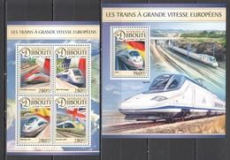 DJ093 2016 DJIBOUTI TRANSPORT EUROPEAN HIGH SPEED TRAINS 1KB+1BL MNH - Eisenbahnen