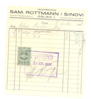 JUDAICA SAMUEL ROTTMAN  & SON OSIJEK YEAR 1930 - Andere