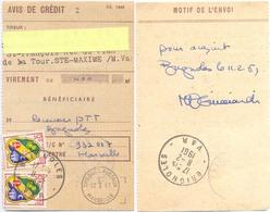 CCP AVIS DE CRÉDIT 2 BLASON ALGER 15 C. TàD BRIGNOLES VAR Du 11-2-1961 + CHEQUES POSTAUX MARSEILLE Du 13-2-1961 - Documents Of Postal Services