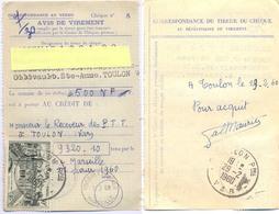 CCP AVIS DE VIREMENT PALAIS DE L'ÉLYSÉE 30 F. TàD TOULON PPAL VAR 29-2-1960 + CHEQUES POSTAUX MARSEILLE 1-3-60 - Documents Of Postal Services