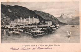CPA - TERRITET - LE GRAND HOTEL Et HOTEL Des ALPES (carte Illustrée) ... - VD Vaud