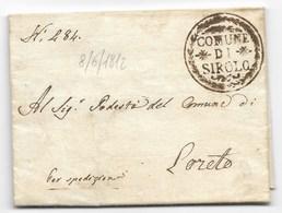 PERIODO NAPOLEONICO - DA SIROLO A LORETO - 8.6.1812. - ...-1850 Voorfilatelie