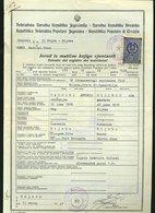 SP73 1948 RIEKA REPUBBLICA FEDERATIVA POPOLARE JUGOSLAVA , ESTRATTO DI MATRIMONIO CON MARCA - Historical Documents