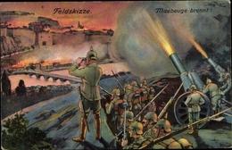 Artiste Cp Maubeuge Nord, Angriff Auf Die Stadt 1914, I. WK, Schlachtszene - Frankreich