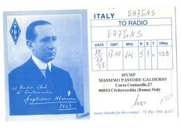 TARJETA TIPO POSTAL TYPE POST CARD QSL RADIOAFICIONADOS RADIO AMATEUR ITALIA ITALY RAI GUGLIELMO MARCONI CIVITAVECCHIA.. - Cartes QSL
